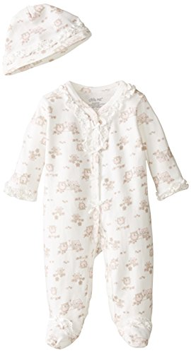 Little Me Baby-Girls Newborn Sweet Owls Footie and Hat, White Print, 6 Months (Best Friend Footie Pajamas)