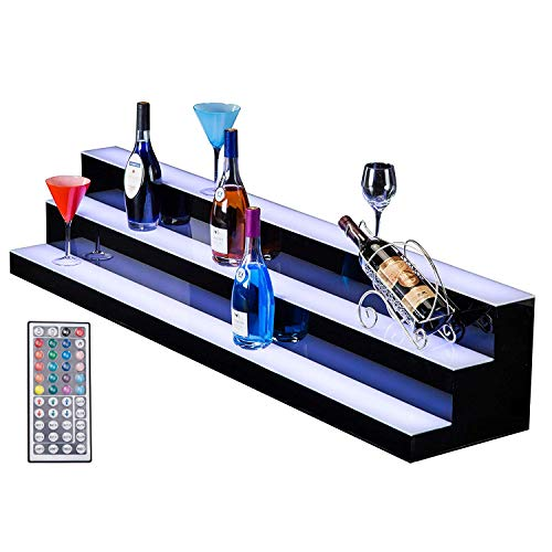 SUNCOO LED Lighted Liquor Bottle Display 60 inches 3 Step Illuminated Bottle Shelf 3 Tier Home Bar Bottle Shelf Drinks Lighting Shelves with Remote Control