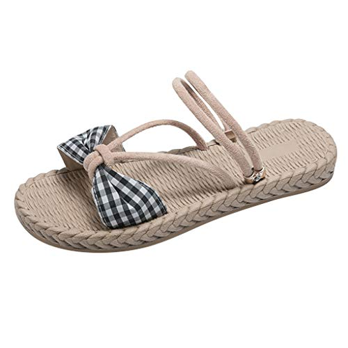 LIM&Shop Women's Ankle Wrap Espadrille Flat Slippers Sandals Two Ways Adjustible Strap Shoes Bow Plaid Beach Flip Flop ()