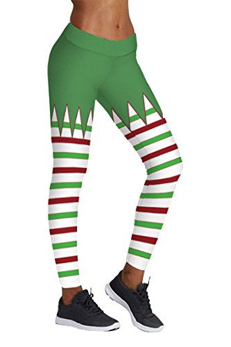 COCOLEGGINGS Womens Geometry Stripes Print Christmas Bodycon Leggings