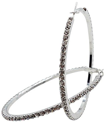 60mm Rhinestone Plated Silver Hoop Earrings Big Circle Earring