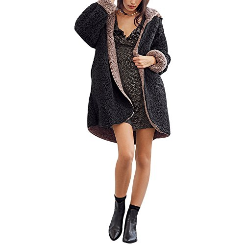 Joseph Costume Women Casual Long Sleeve Berber Fleec Winter Hooded Cardigan Coat Warm Faux Fur Reversible Outwear with Pockets