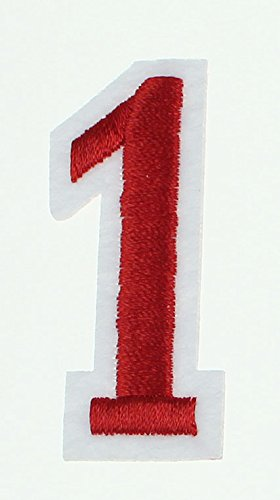 RECHERE 0-9 Number Embroidered Iron On Patch Applique (red (Number 6 Applique)