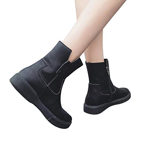 Amazon.com : Dacawin Fashion Leather Boots Flat Low Zipper Middle Tube Boots Casual Shoes Round Toe Martin Boots for Women : Office Products