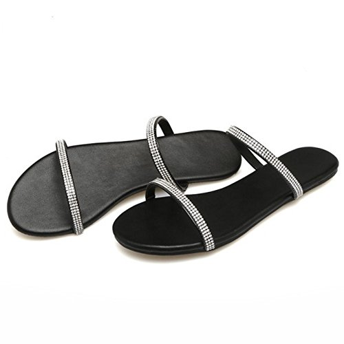 Coolcept Women Flats Slide Sandals Black-15 8KAHWf