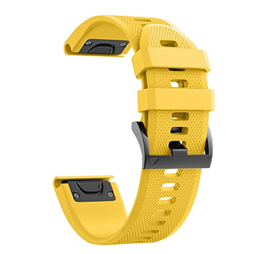 ANCOOL Compatible with Fenix 5X Band Easy Fit 26mm Width Soft Silicone Watch Bands Repalcement for Fenix 5X/Fenix 5X Plus/Fenix 3/Fenix 3HR Smartwatches - Yellow