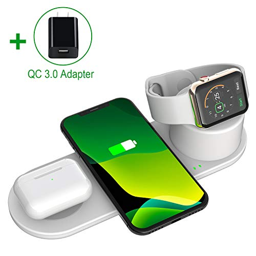 Aresh 3 in 1 Wireless Charging Station for Apple Products Watch iWatch Airpod/Airpods Pro iPhone 11/11 Pro Max X XS XR 8 Charging Pad Multiple Devices Charger Stand stations Docking Dock QC3.0 Adapter