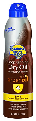 - Banana Boat Sunscreen Ultra Mist Deep Tanning Dry Oil Sun Care Sunscreen Spray - SPF 4, 6 Ounces(Pack of 3)