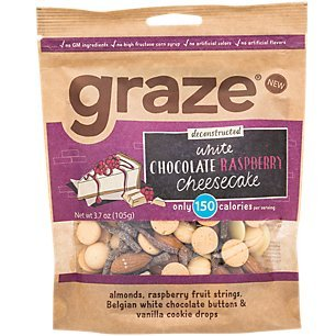 Graze White Chocolate Raspberry Cheesecake Mix with Almonds, Raspberry Fruit Strings, White Chocolate Buttons and Vanilla Cookie Drops, 3.7 Ounce Shareable Bag