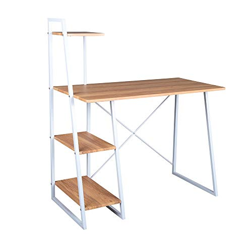 FurnitureR Computer Desk Modern Style Writing Study Table with 4 Tier Bookshelves Home Office Compact Multipurpose Workstation