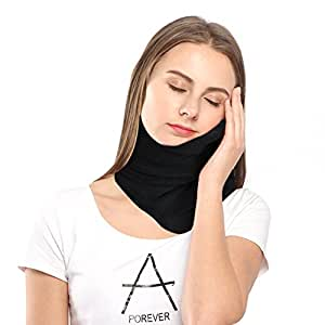 Neck Pillow for Airplane Travel with Super Soft Neck Support System Made with Polar Fleece,Machine Washable-Black By Paraponera