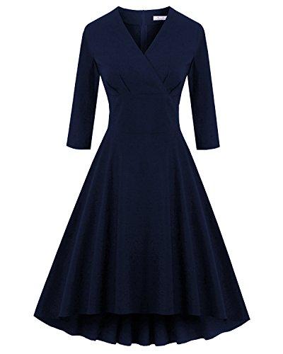 [Newdow Lady Vintage Retro 3/4 Sleeve Homecoming Elegant Black Dress (Small, Navy)] (Sixties Dress Up)