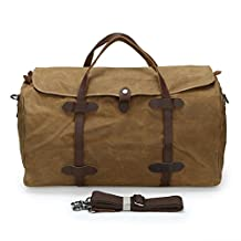Zicac New Style Vintage Retro Unisex Big Holdall Oily Waxy Batik Canvas Travel Handbag Waterproof Cross Body Bag Messenger Bag Large Capacity Luggage Bag Outing Leisure Bag