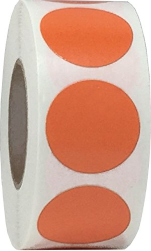 Orange Color Coding Labels for Organizing Inventory 0.75 Inch Round Circle Dots 500 Total Adhesive Stickers On A Roll