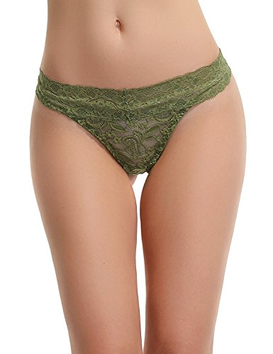 FRDMBeauty Sexy Lace Thong Bikini Panties Underwear Floral Breathable Briefs Lingerie For Women Olive Green Small -