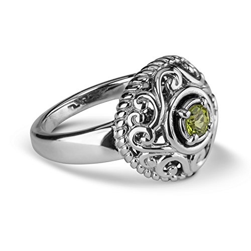 Sterling Silver Genuine Green (Carolyn Pollack Genuine .925 Sterling Silver Green Peridot Birthstone Ring, Size 7)