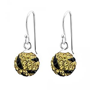Zebra Tiger Print Luxury Shamballa Preciosa Crystal Stone Pave Ball Beads Dangle Drop Earrings Sterling Silver 925