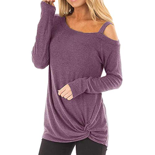 POQOQ Tops T Shirts Womens Blouses Color Block Long/Short Sleeve Casual Round Neck Tunic Neck Sitching Color Plaid M Purple