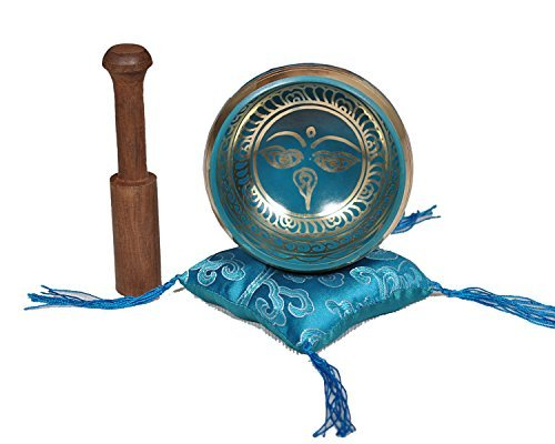 Tibetan Singing Bowl Set By Dharma Store - With Traditional Design Tibetan Buddhist Prayer Flag - Handmade in Nepal (Turquoise)