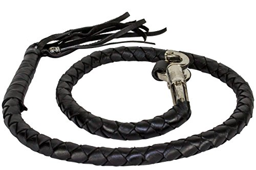 Black Get Back Whip Leather Motorcycle Accessories 3/4