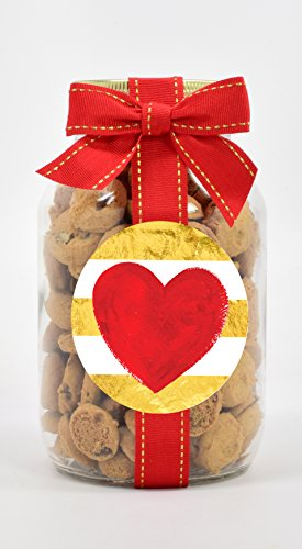 Nams Bits Chocolate Chip Cookies in 20oz Glass Jar - Gold Stip & Red Heart (Valentines Chocolate Chip Cookies)