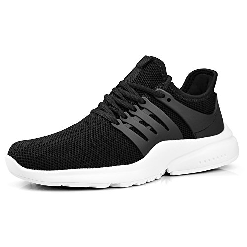 ZOCAVIA Women's Tennis Shoes Running Shoes Breathable Lightweight Sneakers(Black/White,Size 8)