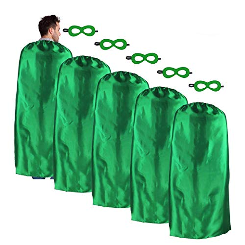 iROLEWIN Adult-Sized Superhero Capes with Masks Set Costumes for Men - Women Dress up Party (Green) -