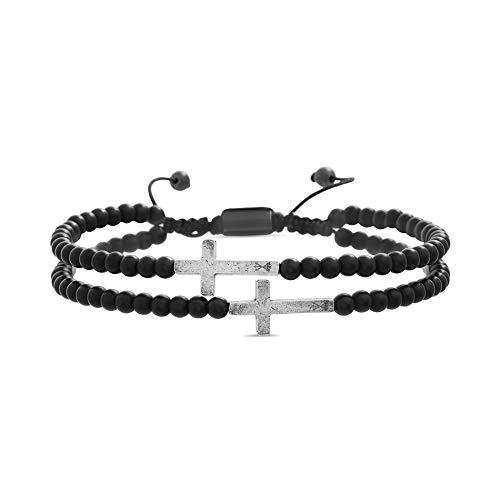 Steve Madden Cross Station Double Strand Black Onyx Beaded Adjustable Bracelet for Men (Black)