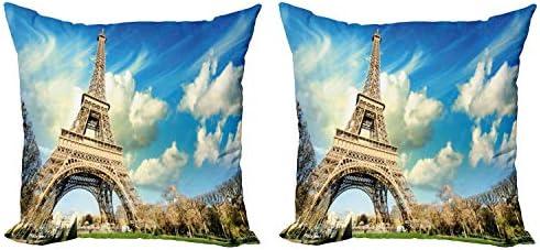 ABAKUHAUS Parijs Sierkussensloop set van 2 Eiffeltoren Autumn Trees Ritssluiting en Print aan Beide Zijden 60 cm x 60 cm Blauw en Beige