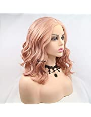 Xiweiya Curly Wig Short Natural Wavy Wig with Ash Pink, Black, Silver Synthetic Lace Front Wigs Wavy Long Hair Replacement Wig for Women, Drag Queen Makeup 14 Inches