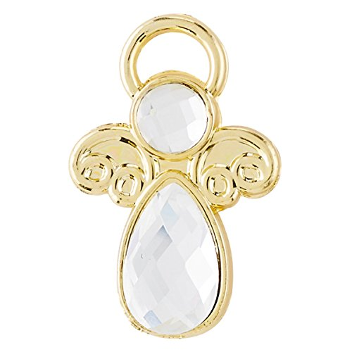 Gold Angel Lapel Pin - Pack of 5 Gold-Toned Glass Crystal Angel Lapel Pins, 1 Inch