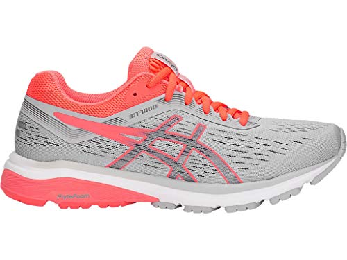 Runners Asics Gel (ASICS Women's GT-1000 7 Running Shoes, 8M, MID Grey/Flash Coral)