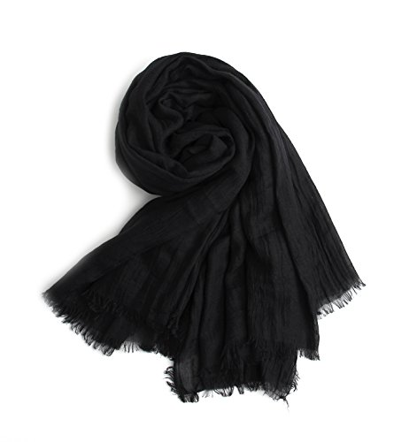 (MolVee Unisex Linen Scarf Solid Color Sunscreen Shawl Large Beach Towel (Black))
