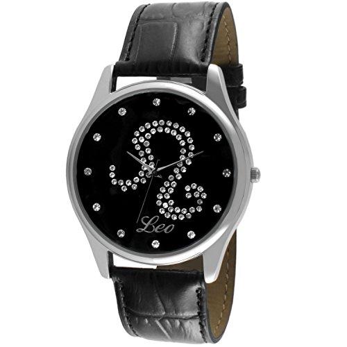 crystal-studded-face-zodiac-horoscope-black-leather-silver-watch-leo