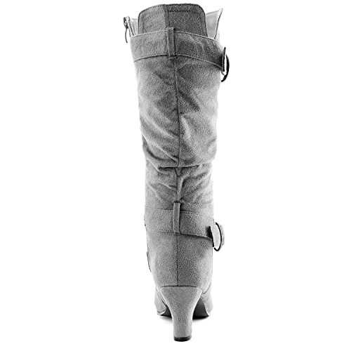 Dailyshoes Womens Slouchy Mid Calf Strappy Boots with Ankle and Top Straps - 2 Heel Fashion Boots Gray Sv iroeaTYtHb