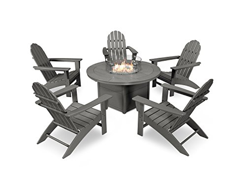 - POLYWOOD Vineyard Adirondack 6-Piece Chat Set with Fire Pit Table (Slate Grey)
