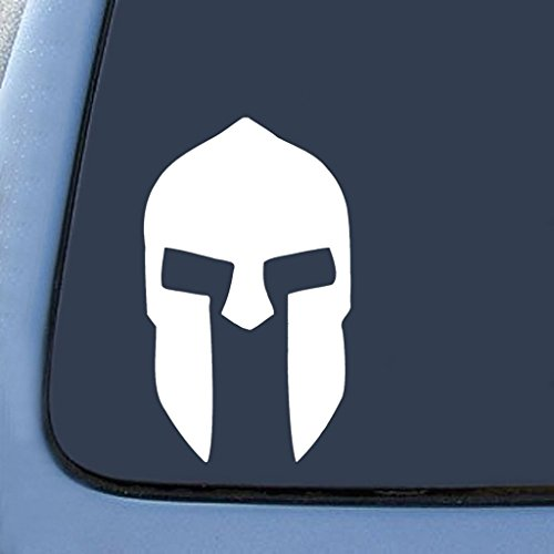 [NI317 Spartan Helmet of King Leonidas Sticker Decal | White Vinyl | 300 Decal | 5.5-Inches By] (King Leonidas Costumes)