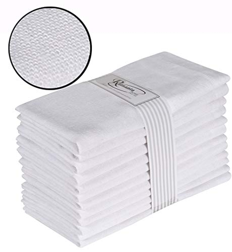 Cotton Dinner Napkins 12 Pack (18x18 Inches) White, 100% Cotton, Tailored with Mitered Corners and a Generous 1