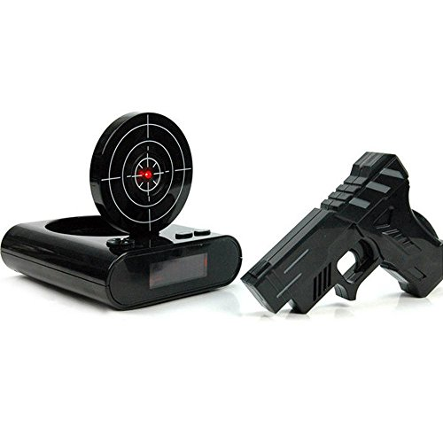 Pawaca Target Alarm Clock with Gun, 12hr Time Display - Infrared Target and Realistic Sound Effects - LED Digital Display Game Toys Gifts For Christmas New Year (Black)