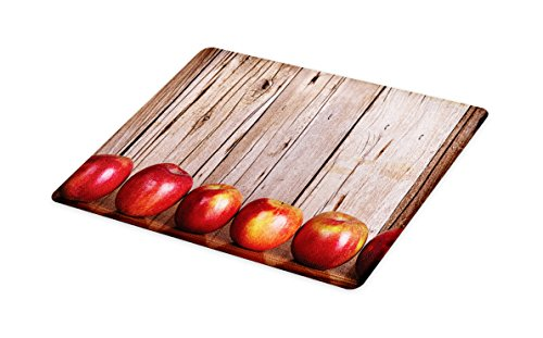 Lunarable Fruits Cutting Board, Apples in a Row Against a Rustic Vintage Wooden Timber Wall Delicious Artwork Print, Decorative Tempered Glass Cutting and Serving Board, Large Size, Brown Red