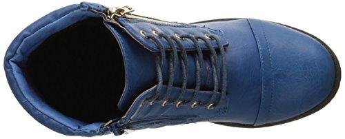 Dailyshoes Donna Militare Allacciatura Fibbia Stivali Da Combattimento Caviglia Alta Esclusiva Trapuntata Tasca Della Carta Di Credito Stivaletto Blu Pu