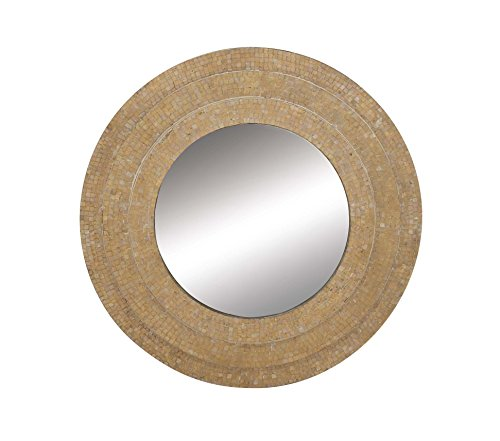 Deco 79 67972 Mosaic Wooden Wall Mirror, Beige