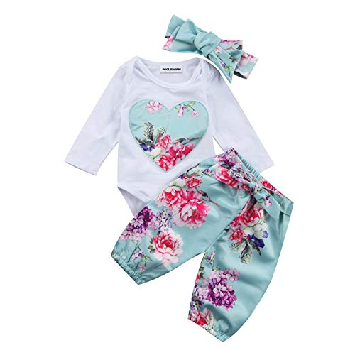- Fashion New Newborn Kid Baby Girl Floral Clothes Long Sleeve Romper Jumpsuit Round Neck Romper Pants Outfit Sets 6M Sky Blue