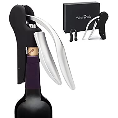 WineTools Premium Wine Bottle Opener Gift Set - Includes Rabbit Lever Style Screwpull Corkscrew and Quad Blade Foil Cutter in an Elegant Gift Box