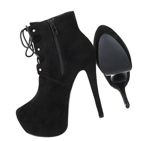 Stiefeletten Boots Leder Optik Stiefelette Elegante Heels Booties Schwarz Schnürstiefelette Ankle Schuhcity24 Sky Plateau Pumps Damenschuhe P8qnEw7vw