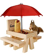 Squirrel Table Feeder with Umbrella, Lalafancy Wooden Picnic Table Feeder for Squirrels with Corn Cob Holder, Squirrel and Chipmunk Gifts for Squirrel Lovers, Built Strong