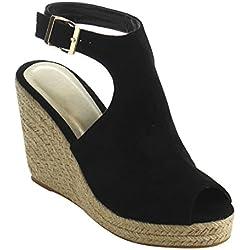 Beston IE01 Women's Peep Toe Buckle Ankle Strap Backless Espadrille Wedge Sandal, Color:BLACK, Size:11