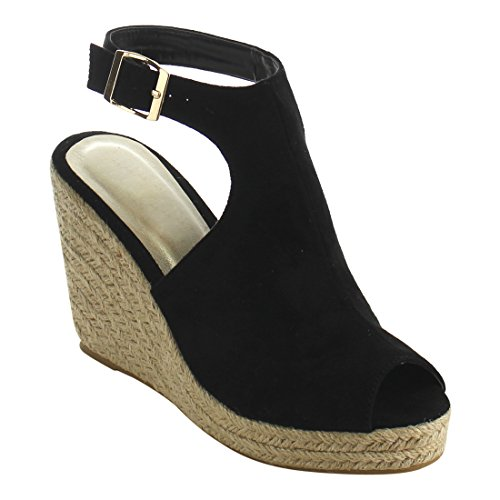 Beston IE01 Women's Peep Toe Buckle Ankle Strap Backless Espadrille Wedge Sandal, Color:BLACK, Size:8 (8 Black Wedge Sandals Size Womens)