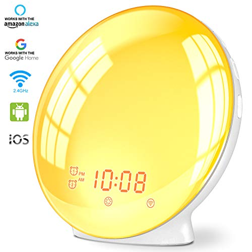 Wake Up Light Alarm Clock, Burbupps Kids Night Light Compatible with Alexa & Google Home, 7 Colored Sunrise Simulation and Sunset Fading, Dual Alarm Clock with FM Radio, USB Charge Port (Style-2)