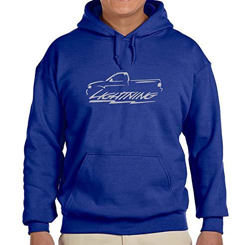 (1999-04 Ford SVT Lightning F150 Pickup Truck Classic Silver Color Outline Design Hoodie Sweatshirt Large)